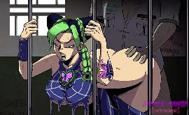 Jolyne hentai na prisão com as mãos na grade sendo fodida